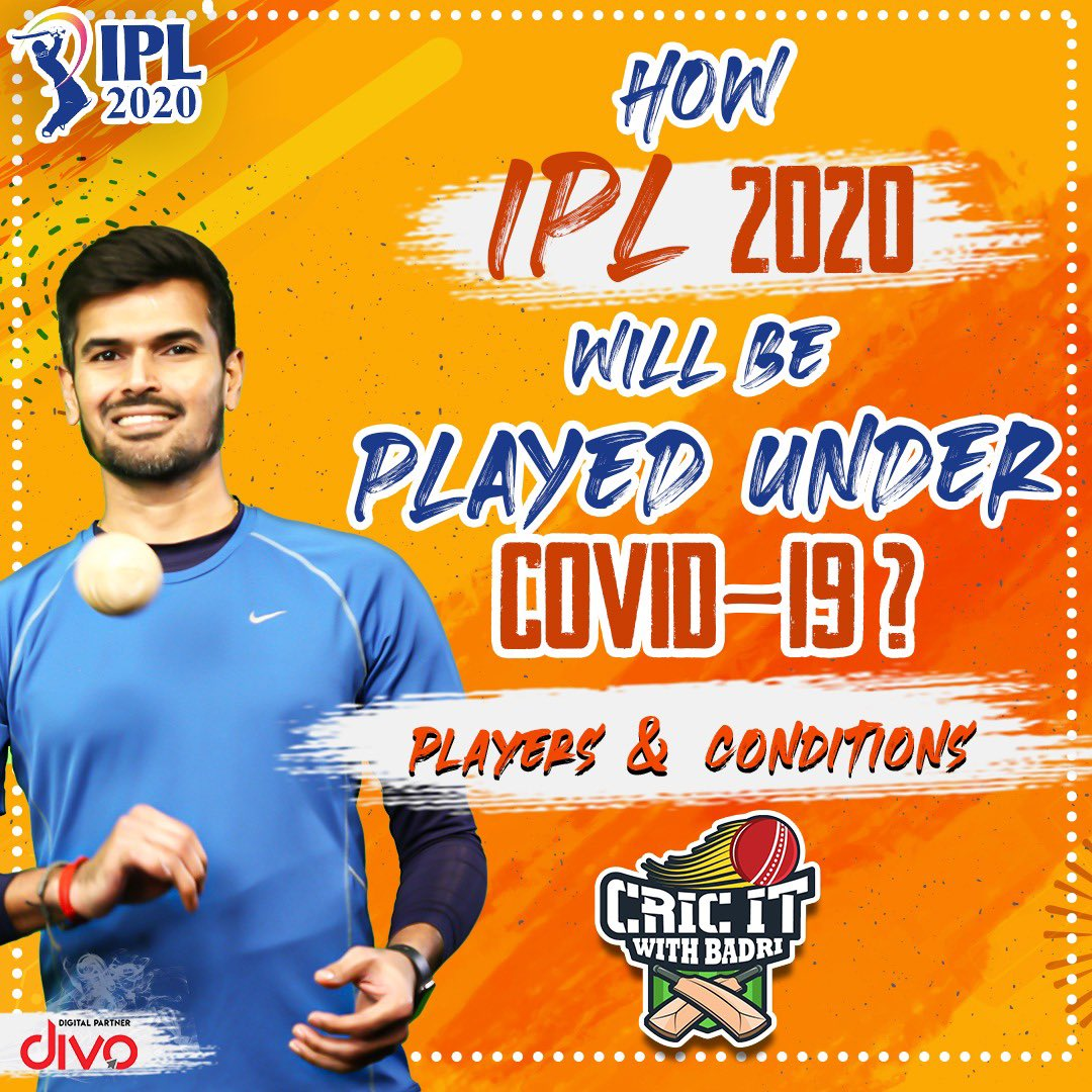How IPL will be played under Covid-19 Conditions? Watch here to know:   https://t.co/eIfHpFQesz  #IPL2020 #IPL #COVID19 #Cricitwithbadri https://t.co/eYcfTAp6zy