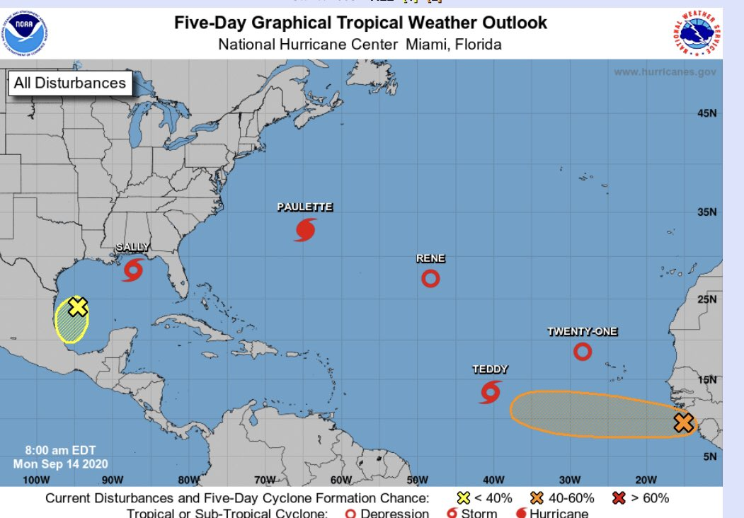 Incredibly busy tropics with 5 named storms ongoing at once...only the second time in recorded history. #sally and #Paulette are threatening  and impacting land areas. https://t.co/5V2WC430oF