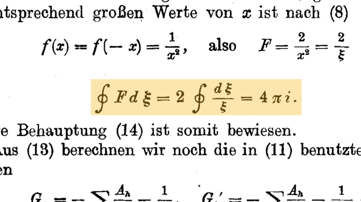 The physicist Arnold Sommerfeld was the first person to use the contour integral sign ∮ in his 1917 paper Drudes dispersion theory from the point of view of Bohrs model and the constitution of H₂, O₂ and N₂