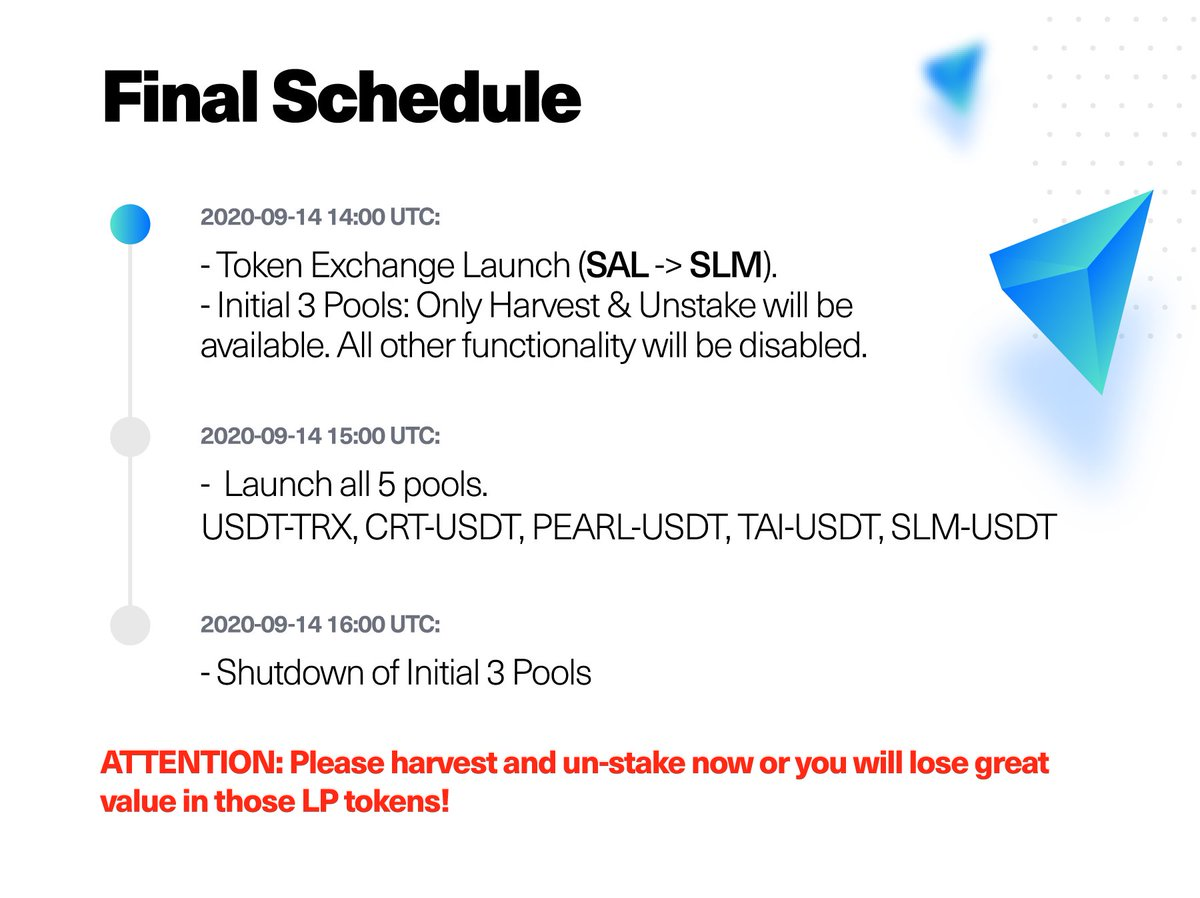 New schedule. Please unstake as planned to avoid fund loss.