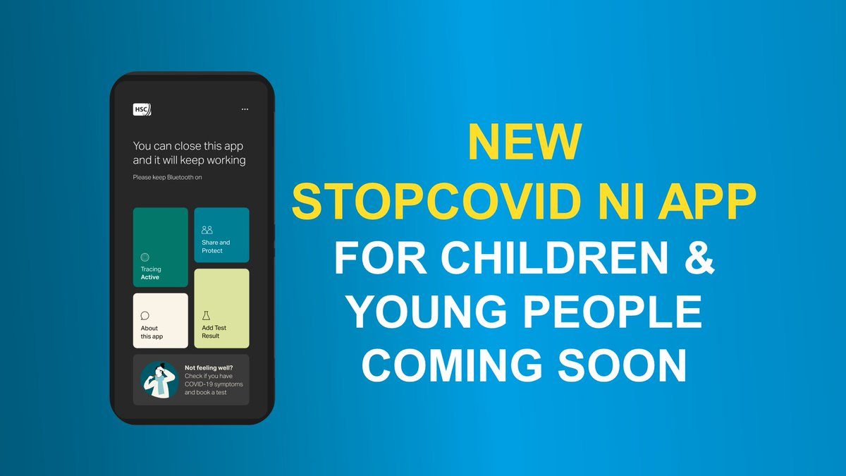 Health Minister Robin Swann and @nichildcom Koulla Yiasouma have jointly welcomed the work to develop a new version of the #StopCOVIDNI app for under-18's.  ➡️https://t.co/6slbZNbgnT https://t.co/rqic7oGGEt