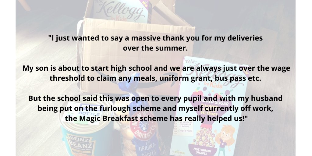 This lovely thank you from a parent in the North West shows how our breakfast deliveries were more important than ever as #Covid19 led to job losses and pay cuts. #NoChildTooHungryToLearn #ENDCHILDPOVERTY @MarcusRashford @Food_Foundation