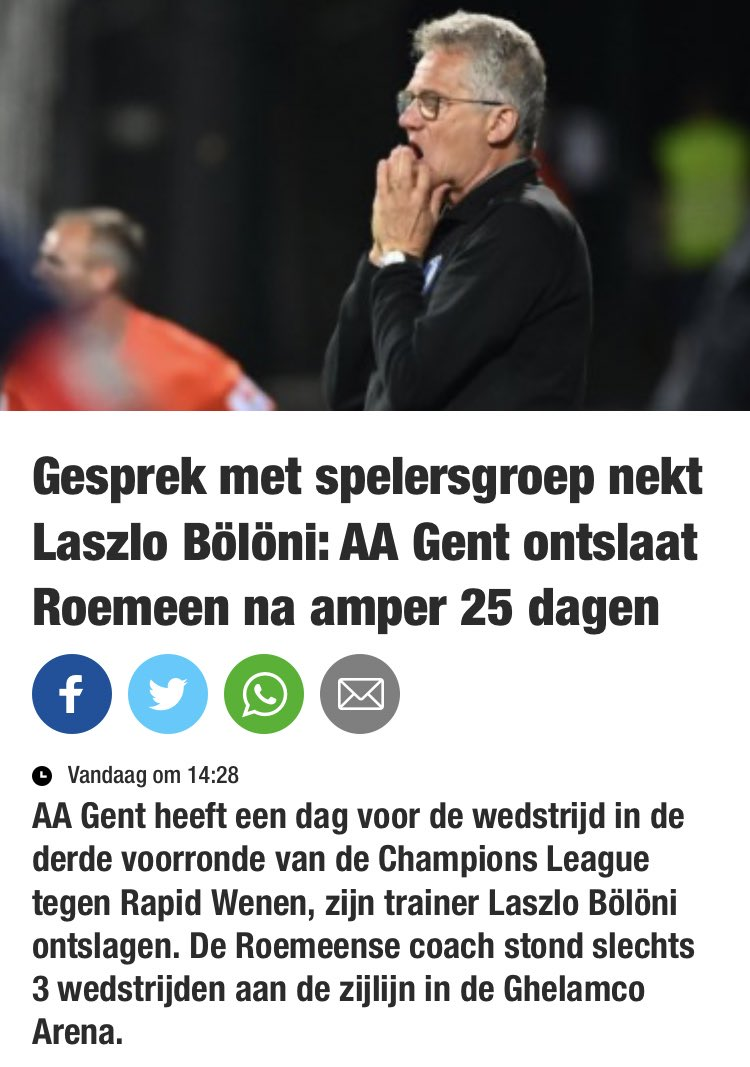 Did László Boloni's first game in charge of Gent at the end of August, and won't be doing another one. They've fired him after 25 days. #jpl https://t.co/9ECssw4gw5