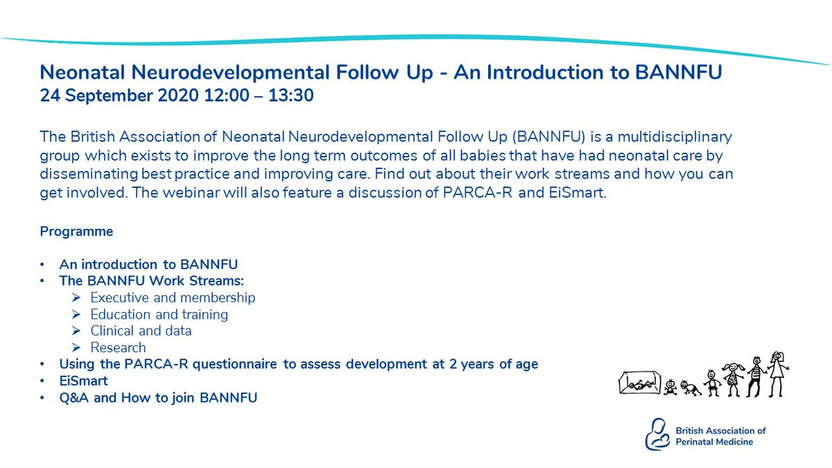 Our free to attend webinar on the 24th September is brought to you by BAPM Special Interest Group, BANNFU.   Find out how this multidisciplinary group are improving long term outcomes. for babies that have had neonatal care.  Book here: https://t.co/0teN85VFQL https://t.co/NM7FWAzVSj