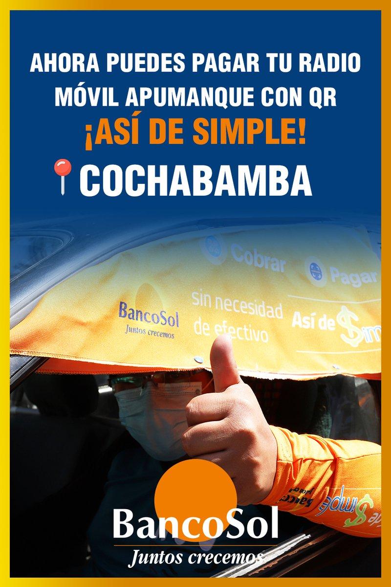 ¡Paga de manera rápida y segura!  Cochabamba: Simple de BancoSol llegó hasta radio móvil Apumanque para facilitar tu día a día y cuidar tu seguridad evitando el contacto.  ¡Estamos con nuestra gente! #PagoSimple #BancoSol https://t.co/oFzDKuJNka