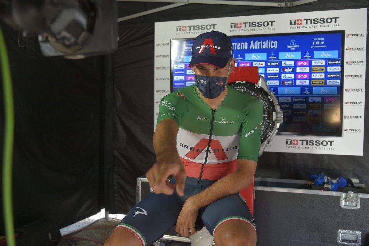 The podium of the last stage of @TirrenAdriatico:  Il podio dell'ultima tappa della @TirrenAdriatico:  🥇 @GannaFilippo      🇮🇹 🥈 @VCampenaerts    🇧🇪 🥉  Rohan Dennis       🇦🇺  👏👏👏👏  🔱 #TirrenoAdriatico EOLO https://t.co/tRog3dsMcO
