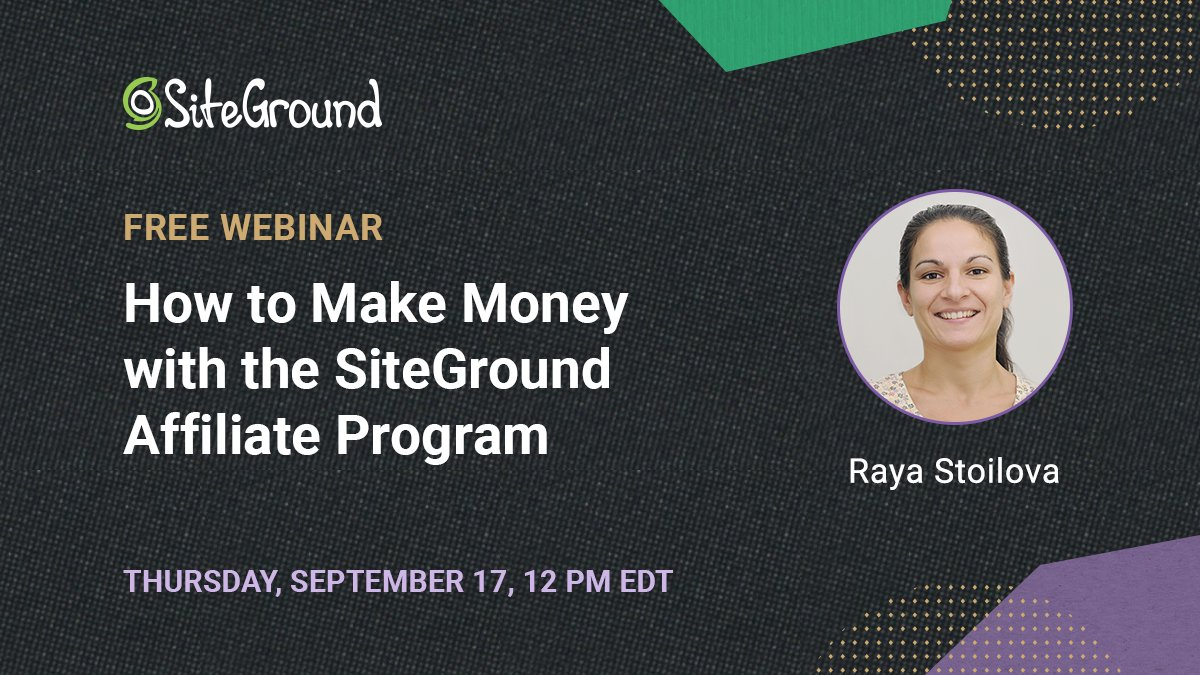 """🎁#FREEWEBINAR ⏩Sign up https://t.co/tI3mPm4J2l ❓Post your question in the tab """"Ask a question""""   Do you want to get paid for recommending services you love? Sign up for our #webinar & learn how to make money with SiteGround's #AffiliateProgram. #AffiliateMarketing #affiliates https://t.co/nzfROvB2QQ"""