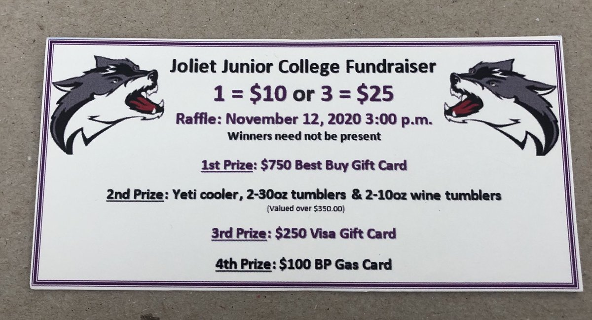 Selling raffle tickets, let me know if you're interested. Really good prizes. Venmo is available. #HearTheHowl