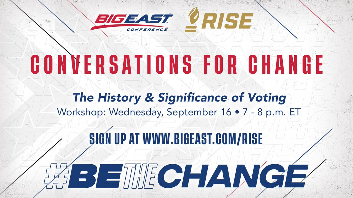Our next Workshop with @RISEtoWIN is this Wednesday! #BEtheChange and learn about The History & Significance of Voting. bigeast.com/RISE