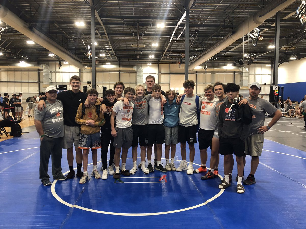 Super proud of this team! 11 of the fourteen are Minooka varsity team members and they laced up their shoes and went and battled against all star teams from all over the nation and took 7th place as a team after going 3-0 in pool to make the gold bracket! #MCHSwrestling The Nook!