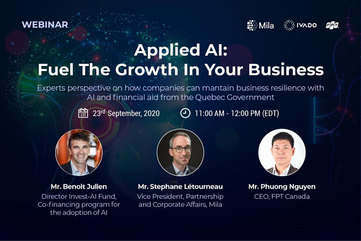 Introducing our upcoming #webinar: APPLIED AI: FUEL THE GROWTH IN YOUR BUSINESS.   Join the leading experts in the #ArtificialIntelligence field to discover how #AI and predictive analytics can empower enterprises to overcome current business challenges. https://t.co/cruYGMdV5d https://t.co/kMKBWO7yuR