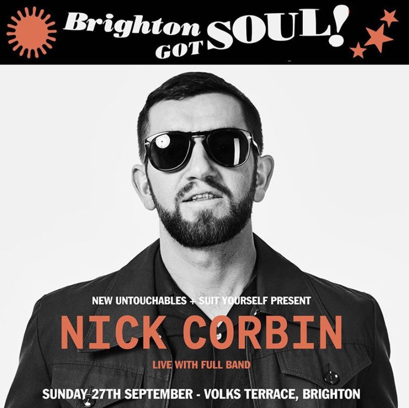 Nick Corbins live show on Sunday 27th September @ Volks Terrace, Brighton ! 2pm - 7pm, max 6 people per table, Volks Terrace will be following GOV / Venu COVID guidelines. Tickets available from @NewUntouchables (@NickCorbinMusic )