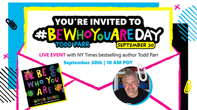 Looking for a bright spot this school year?! Celebrate #BeWhoYouAreDay with your young readers, @toddparr, and @SkypeClassroom on September 30.   Get the info: https://t.co/5dlXc5njXJ https://t.co/uGUGwr7j33