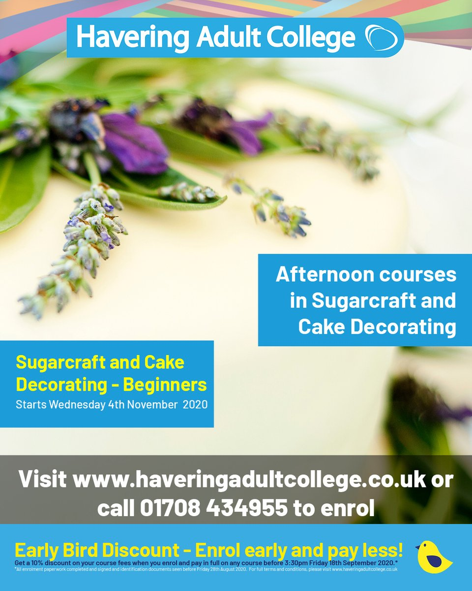 Learn how to cover a cake, the different range of piping techniques and how to make frills and flowers to decorate cakes on our amazing Sugarcraft and Cake Decorating course for beginners.  Call 01708 434955 to enrol. #cakedecorating #sugarcraft #creativefood #foodanddrink https://t.co/CdlLgWVZla