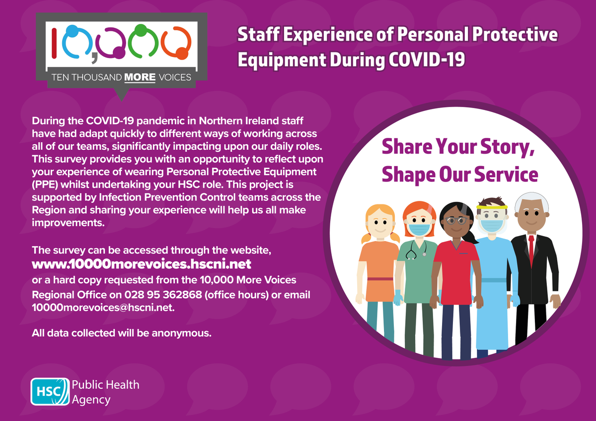 If you work in healthcare in Northern Ireland from tomorrow you can share your experiences of #PPE. For more information please visit https://t.co/AhPwAIRHAm #10000morevoices #HSC https://t.co/pD2pnamA26