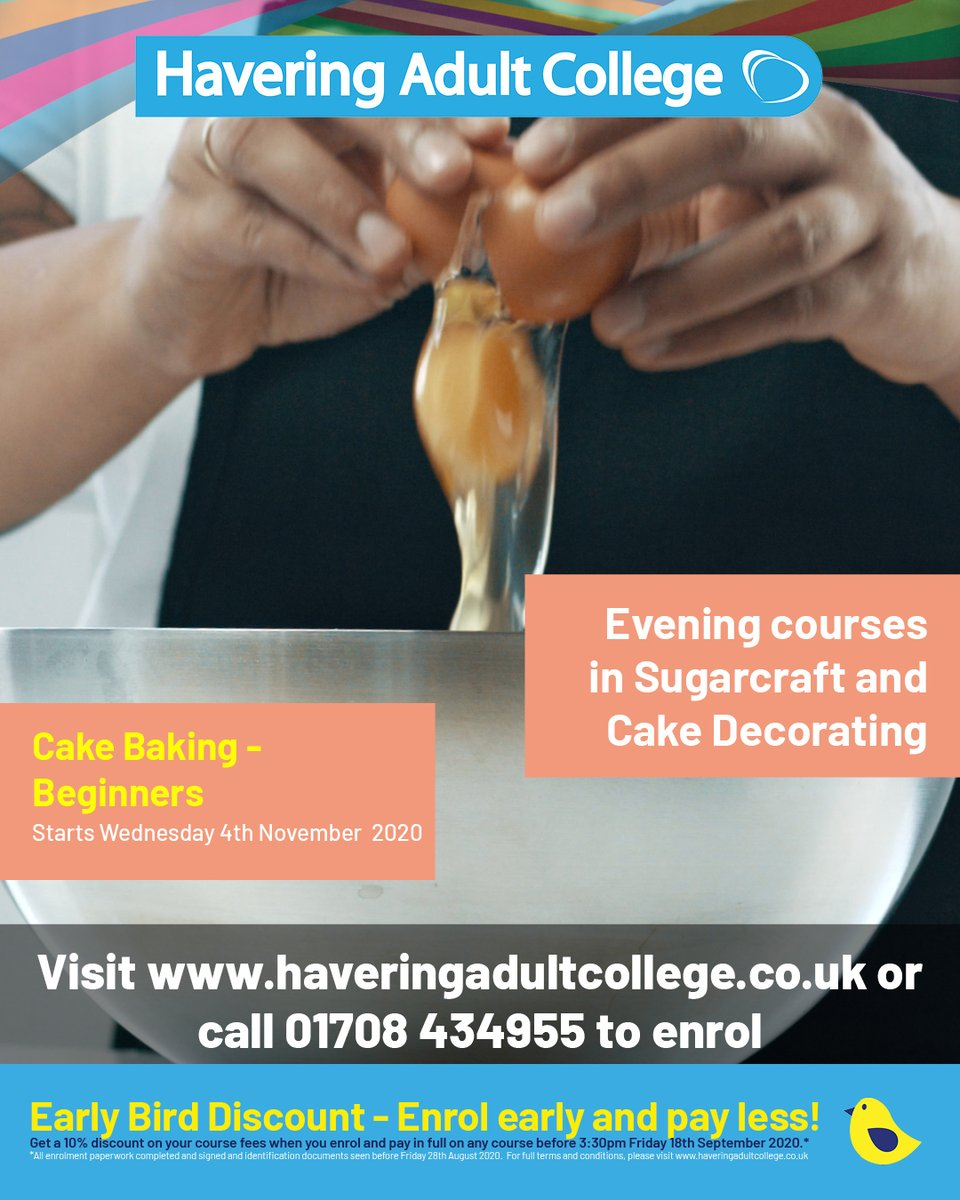 Learn the basics of how to bake a good cake and develop your skills in lining tins, knowing when cakes are cooked and making fillings and toppings.  Enrol today, call 01708 434955. #cake #baking #creativefood #foodanddrink #havering #doingmybit #nevertoolate https://t.co/y27Bvkddst