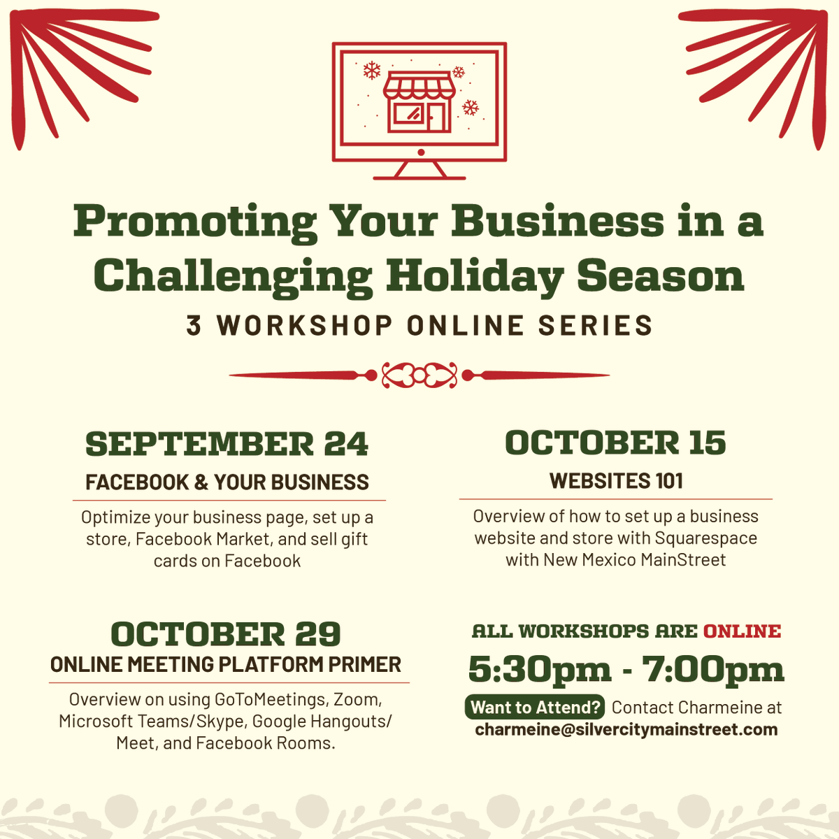 Silver City MainStreet's newsletter highlights their upcoming workshop series on business promotion, the Copper Cooperative Clean Up, and the 30th Annual Lighted Christmas Parade plans! https://t.co/sNu6c2dsRY #NMEcon #NMMainStreet #VisitSilverCity https://t.co/v2CJtLoaNP