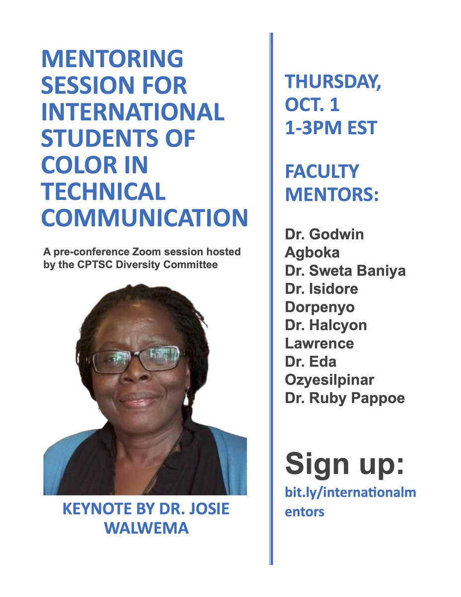 Please spread the word! Mentoring session for international students of color in technical communication. Thurs 10/1, 1-3pm EST. Keynote @josie_walwema Free and all are welcome. Sign up https://t.co/Fav75qFeif https://t.co/lH6Vk5rxls