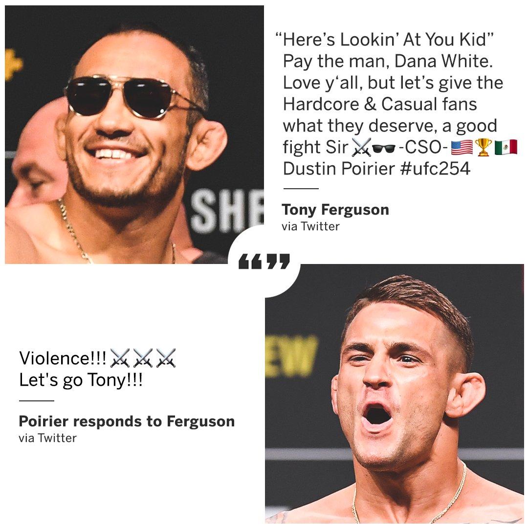 Tony Ferguson pleads to salvage the Dustin Poirier fight at #UFC254  (via @TonyFergusonXT, @DustinPoirier) https://t.co/4oy8JMrOIn