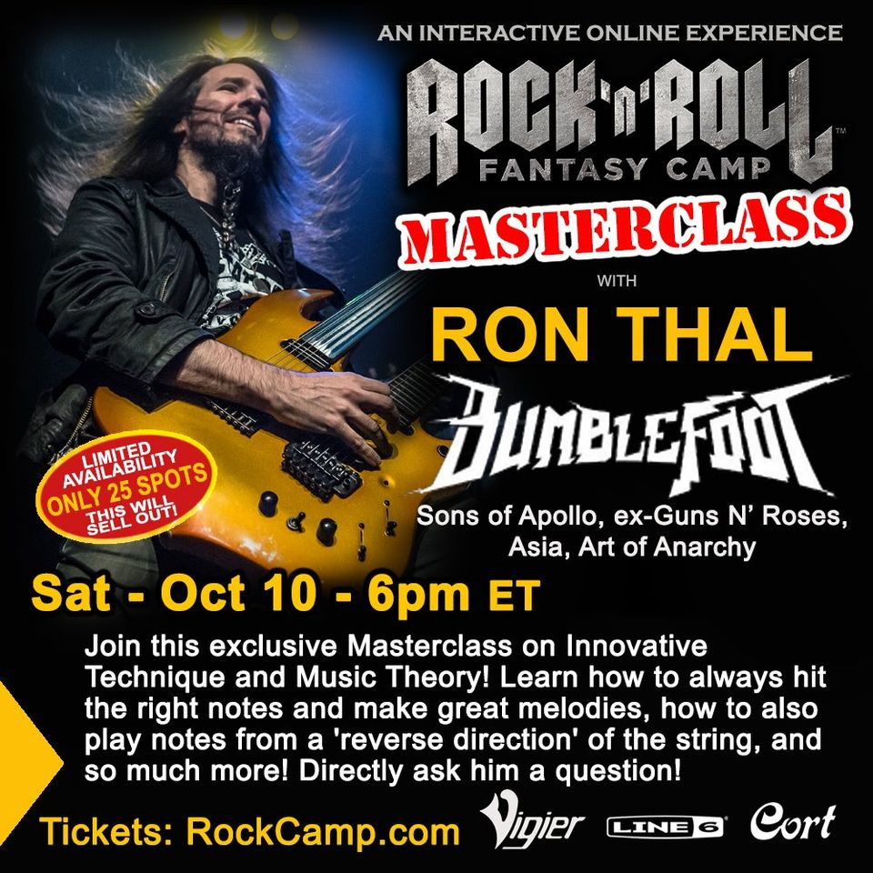 @bumblefoot  MASTERCLASS   SAT OCT 10th, 6pm ET  This class will include: *How to always hit the right notes and make great melodies *How to play from a 'reverse direction' of the string ...and more!  TIX: https://t.co/Fzex2Icz9i…/masterclass-with-bumblefoot-tick… https://t.co/FCnZNZtnFN