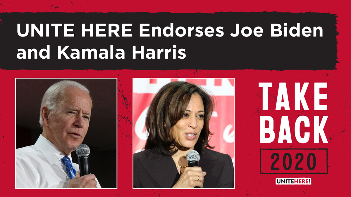 UNITE HERE is proud to endorse @JoeBiden for President of the United States, & @KamalaHarris for Vice President of the United States. With our endorsement comes our commitment to do our part to deliver the key swing states of Nevada, Arizona & Florida. unitehere.org/unite-here-end…