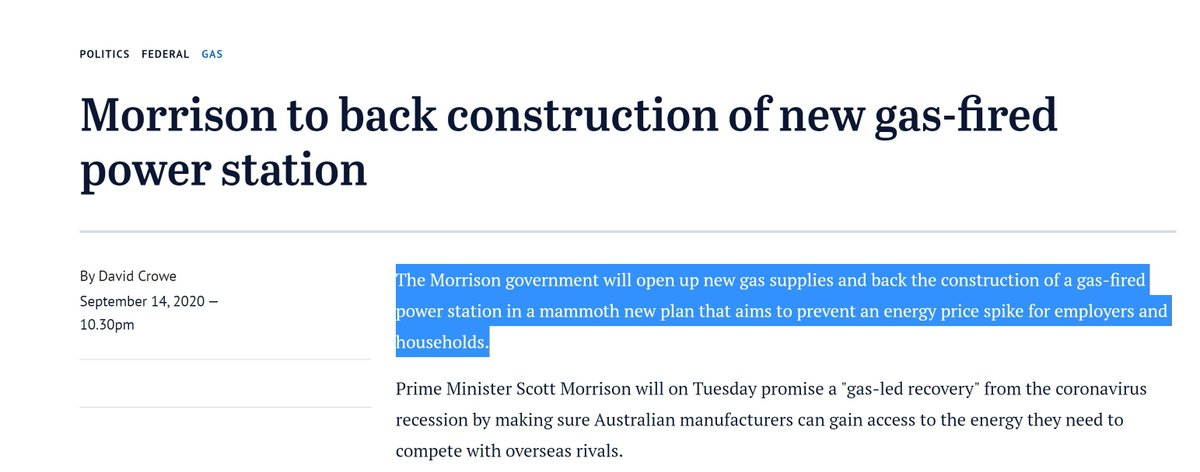 Okay everyone.  @renew_economy let me get mad about Australia's great big new push into building big new fossil fuel infrastructure. Specifically, the threat to build a gas-fired power is *really* weird, very suspicious and deeply embarrassing.  https://reneweconomy.com.au/morrison-casts-dark-shadow-over-energy-transition-with-massive-gas-intervention-22792/->