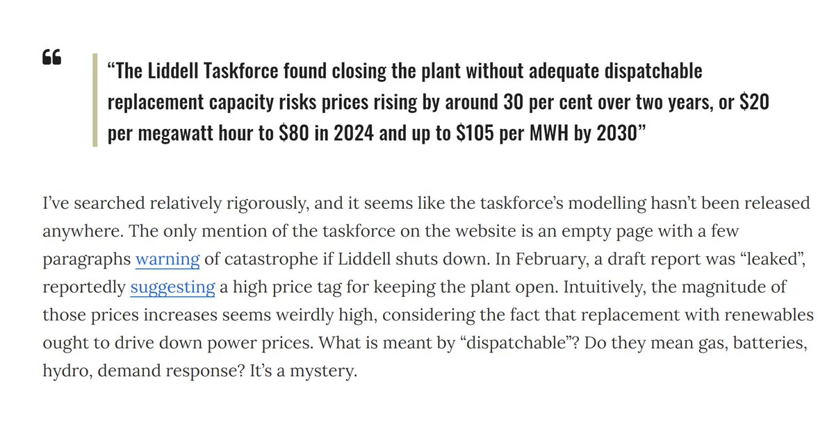 So who is this taskforce? Where's there modelling? What are the assumptions? Why doesn't it match up with the grid operator? When was the modelling done? Who did they consult? Are there any vested interests? Most importantly: why aren't more people asking these questions?