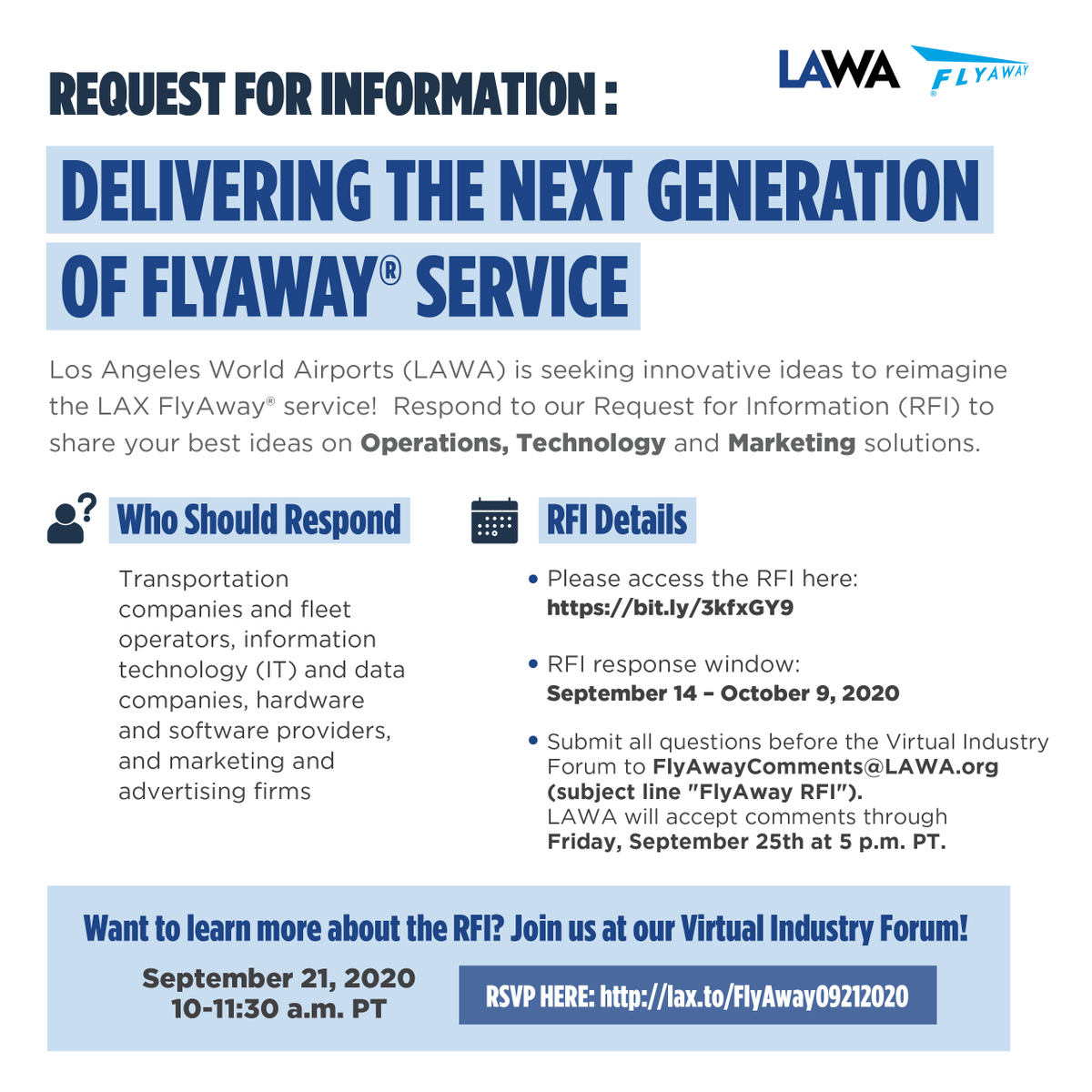 We are imagining the future of the FlyAway bus service to LAX and looking for the best ideas for operations, technology and marketing. See the official Request for Information here: https://t.co/zdOsEGwd0U #RFI https://t.co/QhzFKNJUDK
