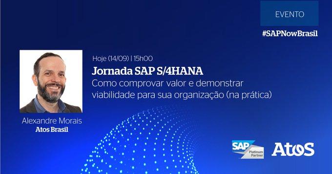 Hoje, às 15h00, será a nossa sessão no #SAPNowBrasil com o especialista Alexandre Morais....