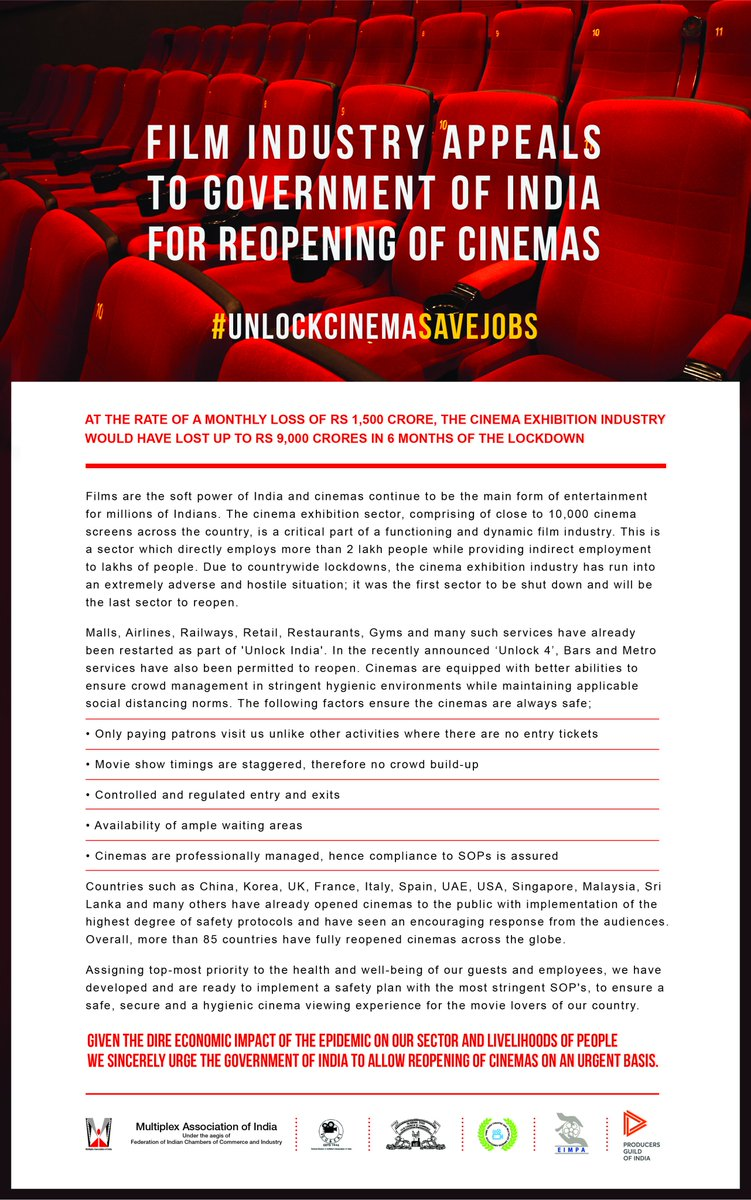 Millions work behind the scenes, to make dreams come to life on the big screen. Their jobs are at stake. Please reopen Cinemas immediately #UnlockCinemaSaveJobs