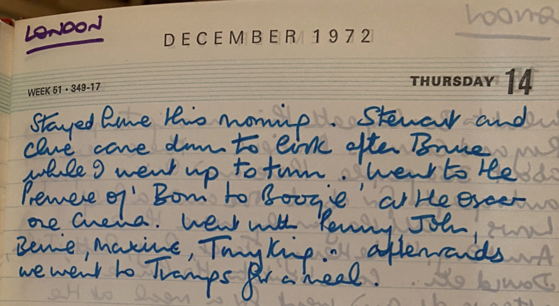 This photo was taken at the premiere of 'Born to Boogie' in 1972, and I've also found my diary entry from that day! 🚀 https://t.co/oZ6yK8hFyD https://t.co/HHbl0bMLvw