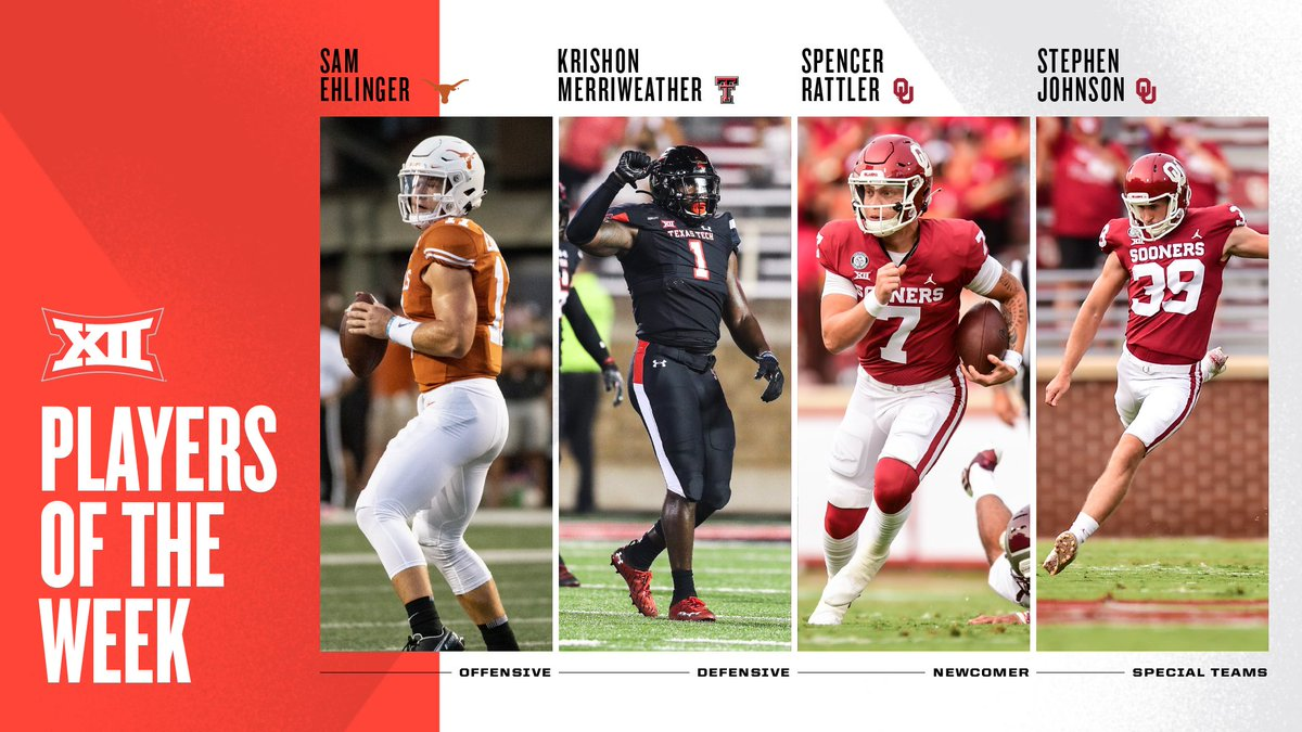 For the full Week 1 #Big12FB Awards release ➡️ big12.us/2RooJPw