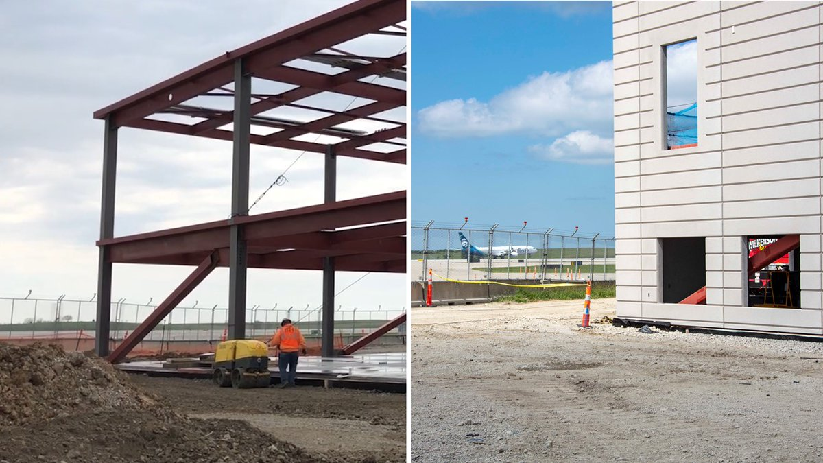 Precast panel installation is ongoing on the @KCIAirport Airport New Terminal Project to form the outer walls of the concourse buildings. The facade is taking shape! https://t.co/bMvHuqhIiG #BuildKCI @KCIEdgemoor https://t.co/uTuvvuXBkB