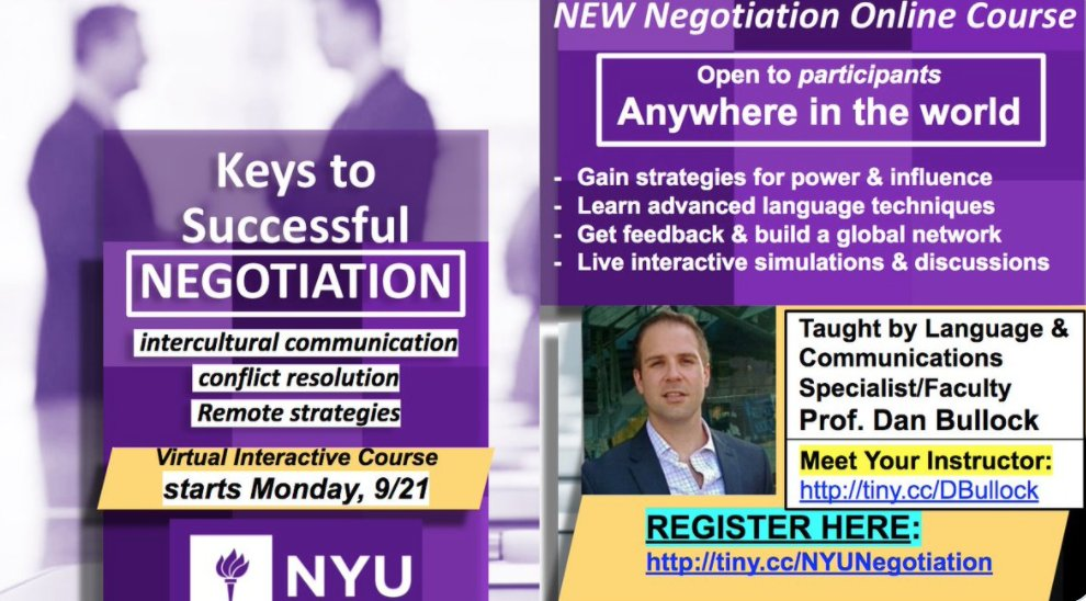 Do you want to know a secret about #negotiations? Live Interactive simulations + individual feedback start soon 9/21 for #global participants. DM for #NYUSPS Certificate credit (+ more below).   Register here: https://t.co/1LFpMlndLC  #career #MondayVibes #MondayMotivation https://t.co/GMHayYfEFh
