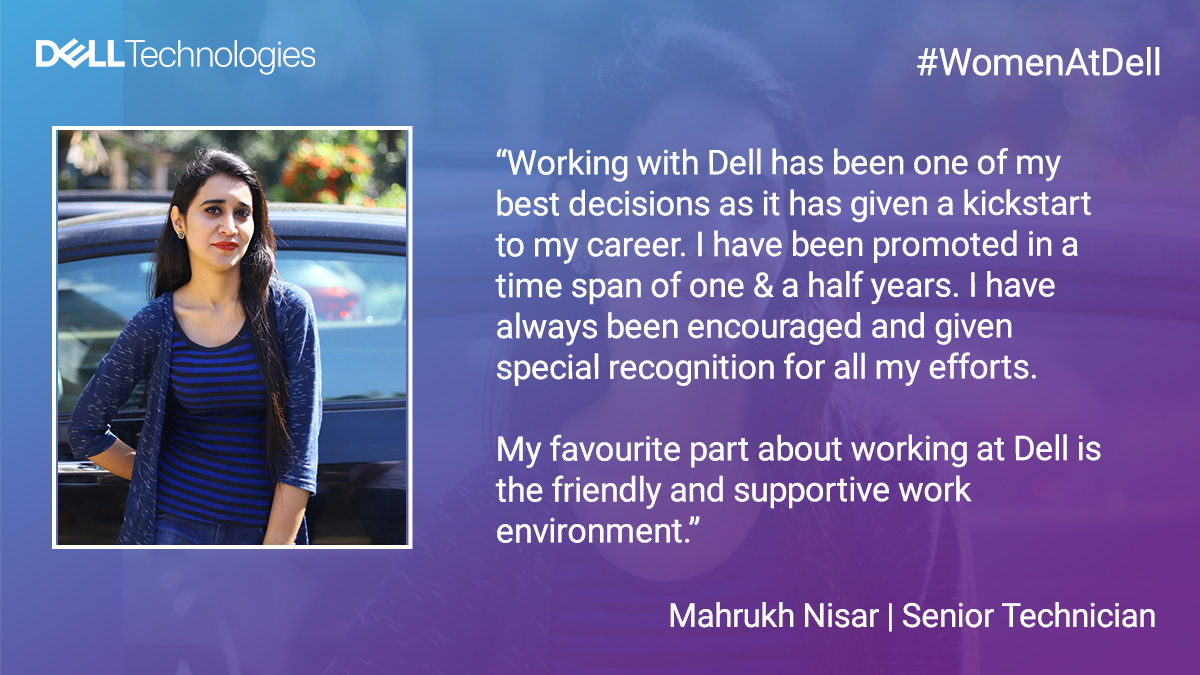 People make Dell- So no matter where you are working from, your contribution will always be recognized. Mahrukh shares what motivates her to work with us. 😄 #LifeAtDell  Learn more about #WomenAtDell at: https://t.co/ix3MHGKmE6 https://t.co/MWMh2eo2as