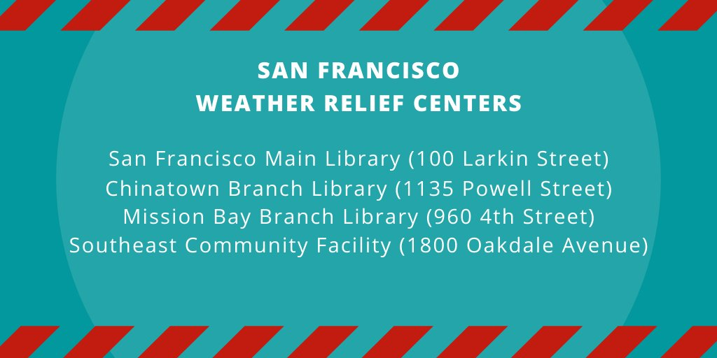 When air quality is poor stay inside to reduce exposure. For those who cannot shelter inside, SF has activated Weather Relief Centers open today (9/14) from 10AM-5:30PM -San Francisco Main Library -Chinatown Branch Library -Mission Bay Branch Library -Southeast Community Facility https://t.co/mdxPq4cPxu