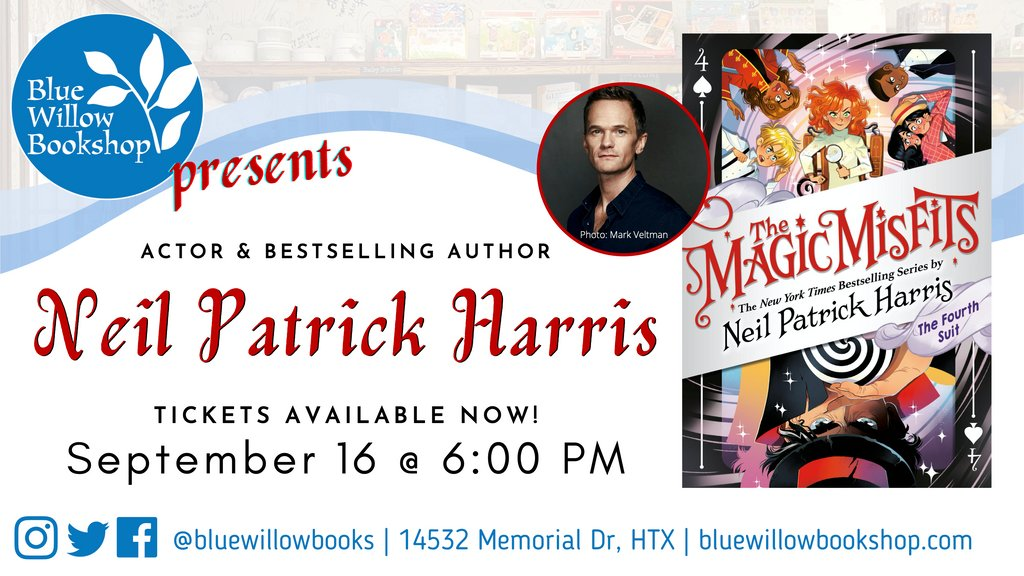 Don't miss this, friends...  We're thrilled to be hosting the one & only @ActuallyNPH for a virtual event celebrating the magical finale to his #1 New York Times bestselling series, The Magic Misfits: The Fourth Suit! 🎩✨  Details: https://t.co/09c2hRomQ8 @LittleBrownYR https://t.co/ya8MGRnhxD
