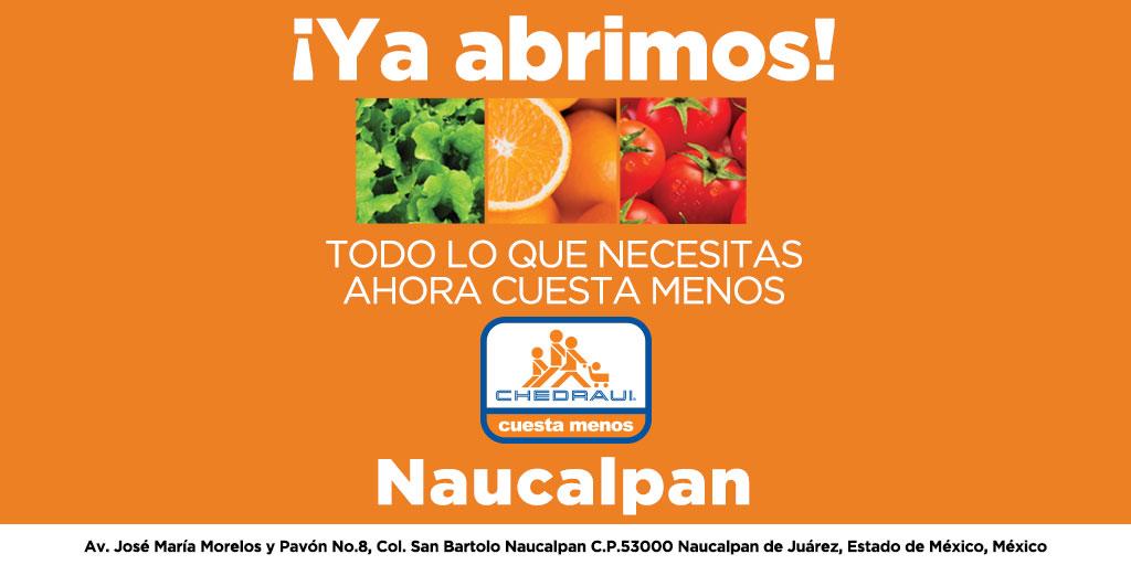 En el nuevo Chedraui Naucalpan hacer tu súper Cuesta Menos. ¡Ya abrimos! #MásCercaDeTi #ChedrauiNaucalpan https://t.co/19CZcUNjUF