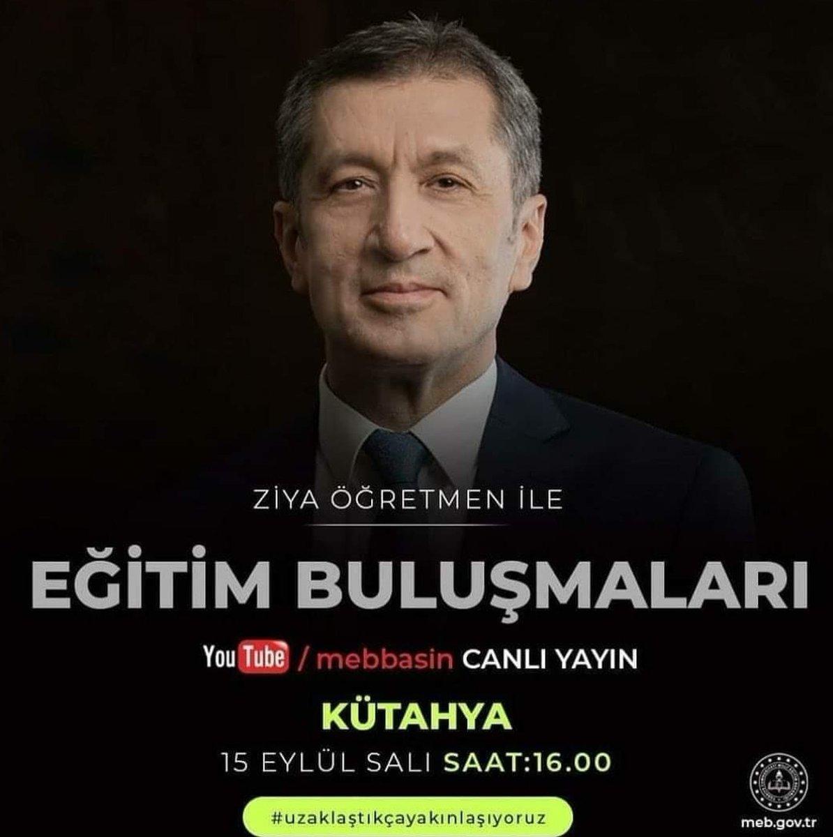"""Milli Eğitim Bakanımız Sayın Ziya Selçuk, 15 Eylül Salı (yarın) saat 16:00'da Youtube/mebbasin kanalından canlı yayınla """"Kuruluşun ve Kurtuluşun Şehri Kütahya""""mıza konuk olacak. #uzaklaştıkçayakınlaşıyoruz  @simavmem43 @kutahyamem @zorlubey1962 @BasyigitHasann @tcmeb @ziyaselcuk https://t.co/z3YzdXBPVW"""
