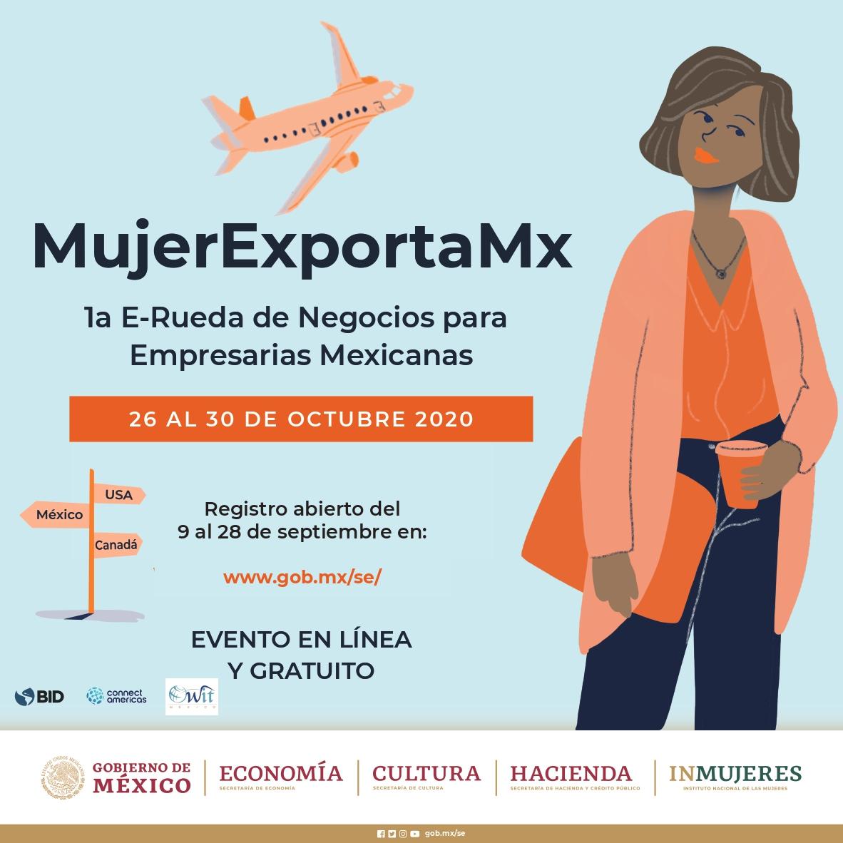 ¿Eres empresaria? ¡Esta convocatoria es para ti!  #MujerExportaMx es una rueda virtual cuyo objetivo es vincular a empresarias mexicanas con importadores de Canadá 🇨🇦y Estados Unidos 🇺🇸.  📅 Regístrate 👉🏾 https://t.co/gzQc1WVZ5S https://t.co/vsCyfOcNSB