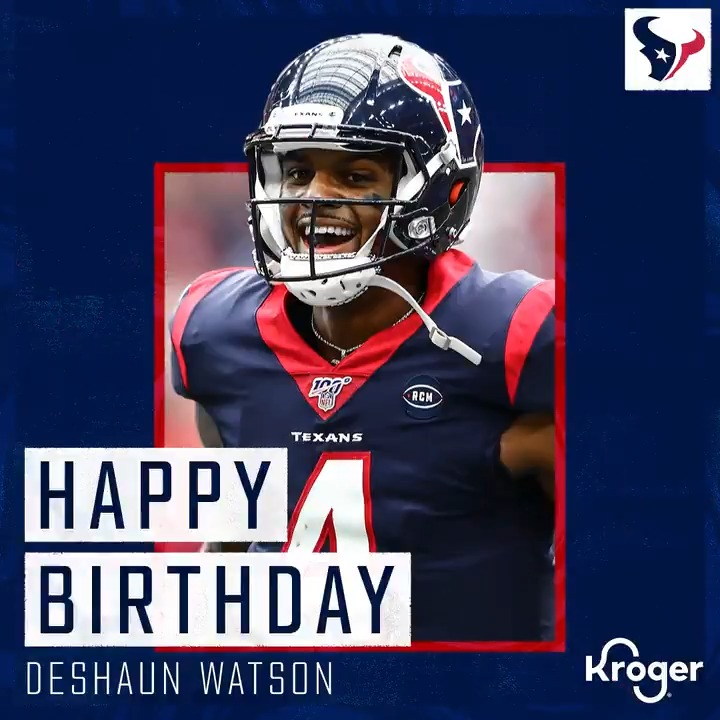 Happy birthday, @DeshaunWatson! 🎉🎈  @Kroger | #WeAreTexans https://t.co/Krg06GVzW1