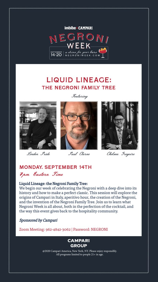 Kick off your #NegroniWeek right tonight with @cocktailchron, @gregoiredrinks and Linden Pride as they lead a presentation about the history of the Negroni family tree. https://t.co/6fR8kMEgTv https://t.co/CDkxb9RfC4