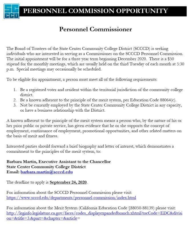 Interested parties should forward a brief biography and letter of interest, which demonstrates a commitment to the principles of the merit system, to: Barbara Martin, Executive Assistant to the Chancellor State Center Community College District Email: barbara.martin@scccd.edu https://t.co/UbNlcBDLba