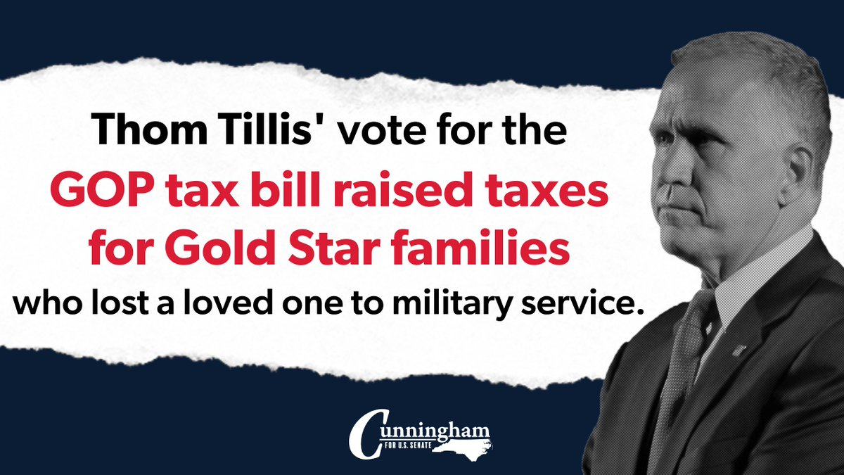 Sen. Tillis' vote for the GOP tax bill had major consequences for NC—including raising taxes for Gold Star families that lost a loved one to military service.  This bill helped corporations when it should have helped North Carolinians. #NCSenateDebate https://t.co/KZVuMtmdwI