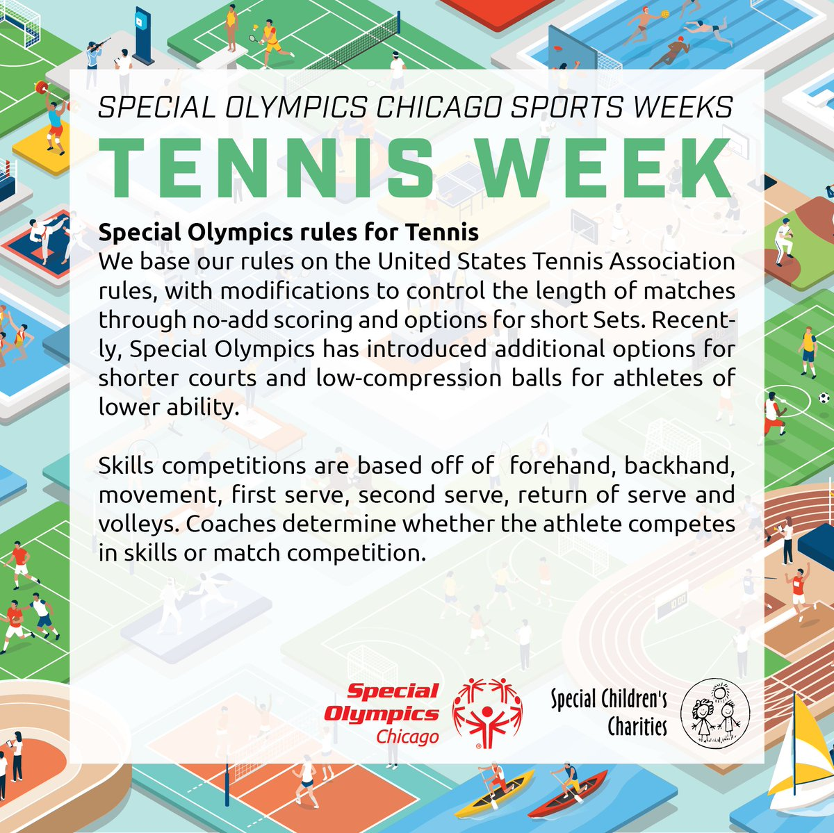 At Special Olympics Chicago, athletes play a modified version of the United States Tennis Association rules. Athletes can take part in Skills Competitions, Singles, Doubles, Mixed Doubles. https://t.co/fq4UohD8h7