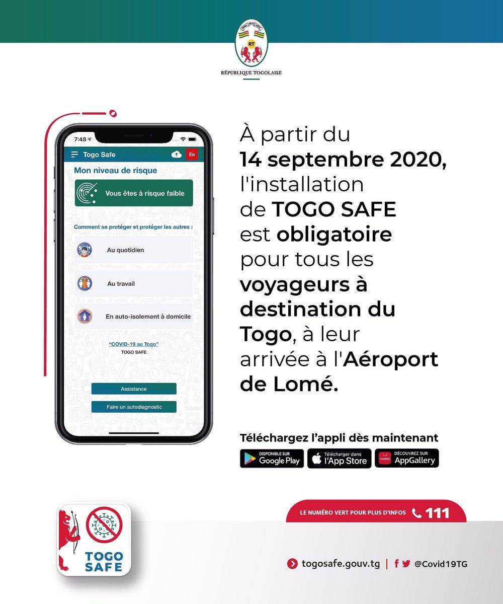 Dès ce 14 septembre, l'installation de l'application #TogoSafe est obligatoire pour les voyageurs à destination du #Togo, à leur arrivée à @LomeAirport.  Tous les voyageurs sont invités à prendre connaissance des nouvelles procédures de voyage sur https://t.co/HCAxS4YK97. https://t.co/RFrf1Ajoel