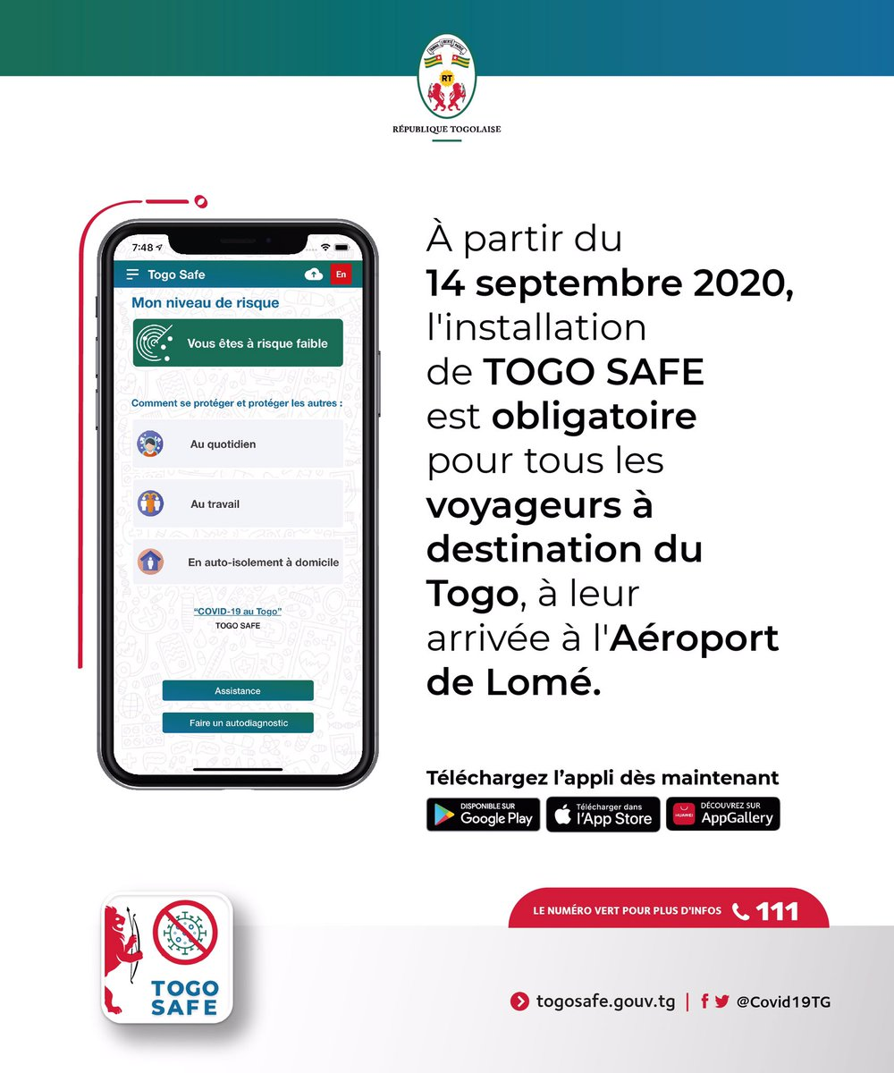 From 14th September, all travellers arriving at @LomeAirport must install the #TogoSafe app before leaving the airport for their place of residence.  All travellers are reminded to carefully read about the travel procedures on https://t.co/HCAxS4YK97 https://t.co/xFQEgaWiP2