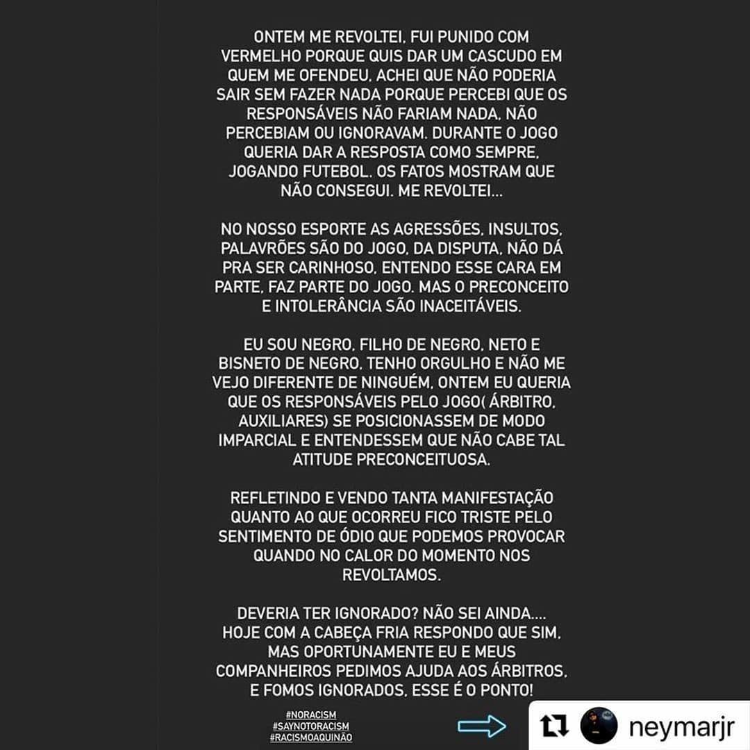 Boa, Neymar Jr ✊🏽 #notoracism #neymar  #Repost @neymarjr  ・・・ Mais Amor ao Mundo!  More love to the World!  #noracism #saynotoracism #racismoaquinão https://t.co/ppYkdUOIIF