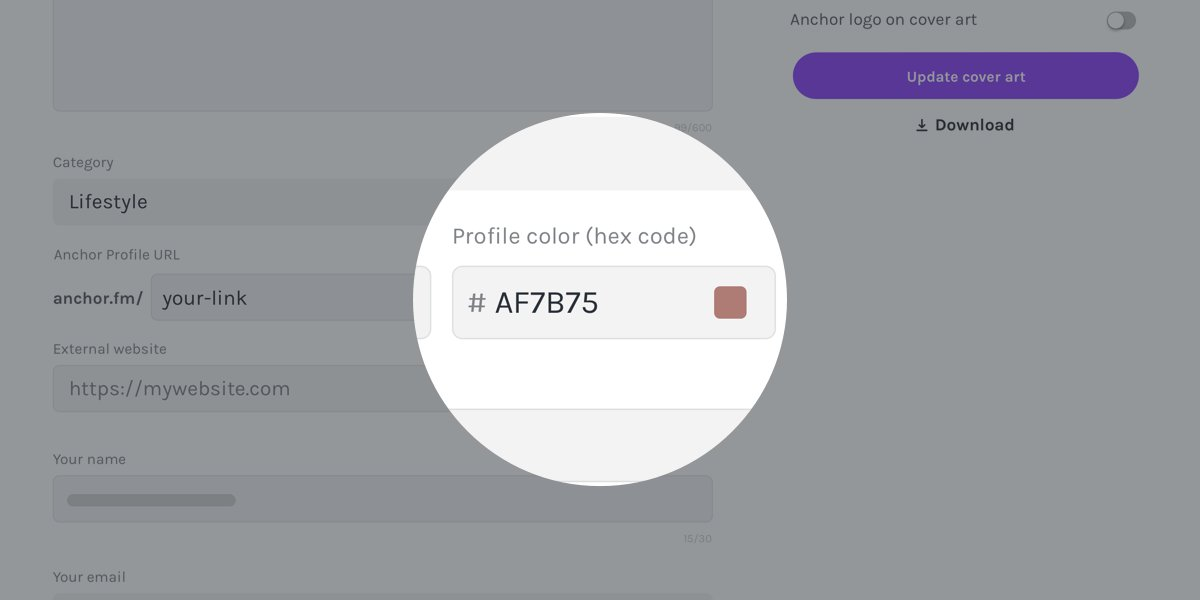 You can customize your Anchor profile header with any color you like! Simply go to your profile settings on web and enter your preferred color hex code.   Learn more here: https://t.co/fHK7BSAnlS https://t.co/Ljuwp7uQDS