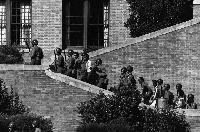 On this day in 1957, President Dwight D. Eisenhower deploys troops from the U.S. Armys 101st Airborne Division to Arkansas to enforce the desegregation of Little Rock Central High School.